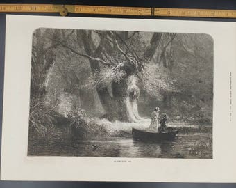 By the River Side Proposal Large Antique Engraving