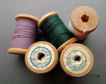 Set of 5 Soviet vintage wooden spools rollers cotton thread. Sewing supplies. Made in USSR 1970s-1980s.