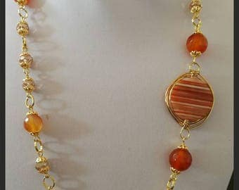 Necklace with Carnelian stones