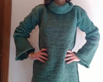 Oversized, loose, woollen polo neck sweater