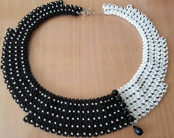 Zen black and white classical necklace