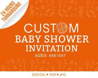 Custom Baby Shower, Baby Shower Invitation, Invitation, Program, Custom  Invitation, Baby