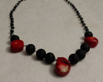 Lava rock necklace with red accent stones and dangle earring combo set