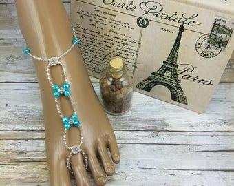 Turquoise Silver Rhinestone Barefoot Sandal - Foot Jewelry