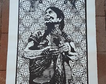 Sagrado Corazón Woodcut Print by Cesar Chavez
