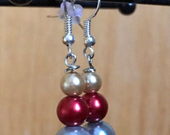 Silver, Red and Gold Drop Earrings, Silver Red Gold Beaded Drop Earrings, Red Silver Gold Earrings, Gold Red Silver Earrings, drop earrings