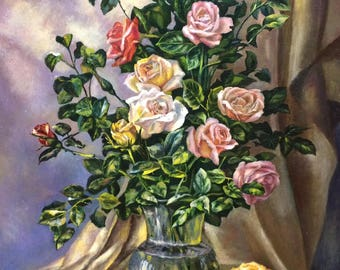 """Original Oil Painting On Canvas """"The Roses"""""""
