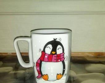 Handpainted mug. Christmas gift. Sweet little penguin