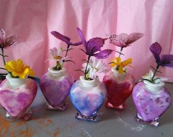 Handpainted Heart Vases