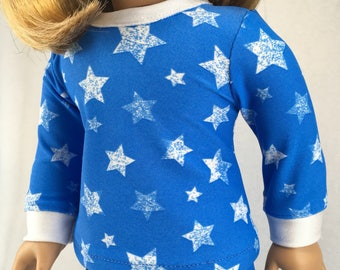 18 inch doll blue star pajamas, winter Olympics, USA, made to fit like american girl doll clothes