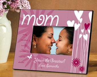 Personalized Mom Hearts and Flowers Frame - Mom Photo Frames - Personalized Mom Picture Frames - Mother Photo Frames - Mother's Day Gifts
