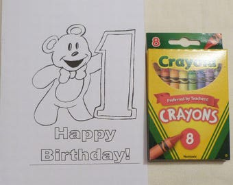 Larger Kids Birthday Year 1 Color Me Cards and a Pack of Colors, Child's  All Occasion Card, Handmade Greeting Cards, Made in the USA, #27