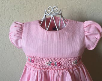 Size 1 Hand Smocked Girls' Dress - Pink with Accent Flowers