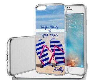Personalized Rubber Case For iPhone X, 8, 8 plus, 7, 7 plus, 6s, 6s plus, 5, 5s, 5c, SE - Blue Striped Flip Flops