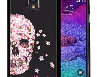 Personalize Rubber Case For Samsung Note 3, Note 4, Note 5, or Note 8-  Pink Flowers Skull