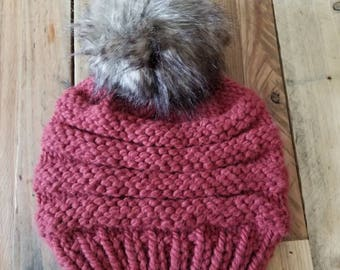 Chunky Knit Women's Hat With Large Handmade Faux Fur Pom Pom - Hand Knit redwood Winter Hat Faux Pom Pom - Women's Knitted Hats