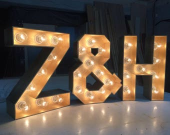 Metal Letter Signs With Lights Light Up Letters  Etsy