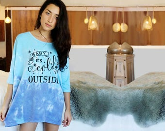 Cold Outside Oversized Shirt - Maya Sleep Shirt - Boho Pajama Shirt - One Size Fits Most - Tie Dyed Night Shirt - Women's Loungewear