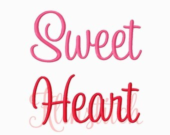 50% Sale!! Sweet Heart Embroidery Fonts 3 Sizes Fonts BX Fonts Embroidery Designs PES Fonts Alphabets - Instant Download
