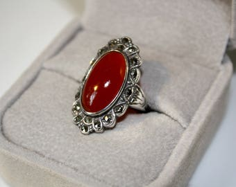 Vintage Sterling Silver Gothic Statement Ring, red, boho ring, size 5