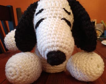 Handmade stuffed Snoopy made with recycled stuffing
