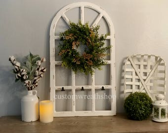 Old Window Frame,Farmhouse Wall Decor,Distress Window Pane,Grapevine Wreath,Wall Decor,Housewarming Gift,Rustic Wall Decor,Fixer upper decor