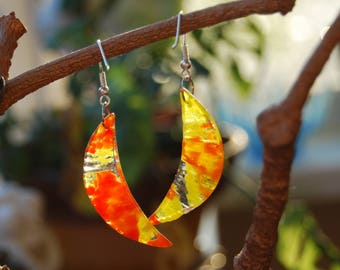 Yellow Citrus Earings,fused glass earings, Stylish earings, Glass jewelry, Orange slice, Hand made jewelry, Ear Wire, Gift for woman.