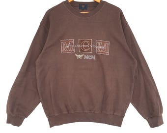 Mcm Sweatshirt brown colour Big Logo Embroidery Sweat Medium Size Jumper Pullover Jacket Sweater Shirt Vintage 90's