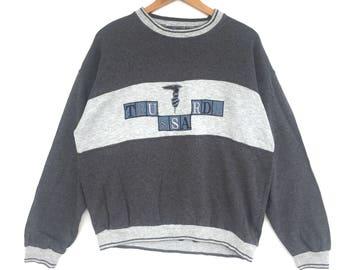 Trussardi Sweatshirt Grey colour Big Logo Embroidery Sweat Medium Size Jumper Pullover Jacket Sweater Shirt Vintage 90's