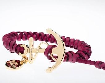 Italian Leather Bracelet-braided With Anchor. Gold Finish. M-131-O