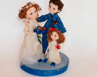 Sculpture made of paper mache to customize (picture not contractual, what you choose your characters)