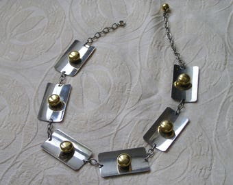 Vintage modernist metallic necklace from the 60's