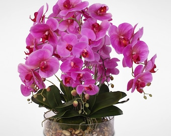 Real Touch Phalaenopsis Purple Orchids in a Glass Bowl with Pebbles #14D