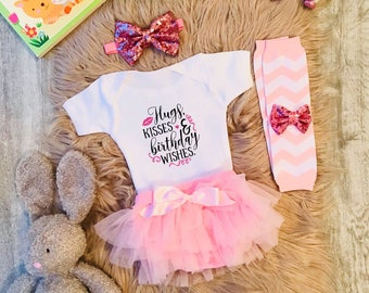 Hugs, Kisses and Birthday Wishes Sparkly Slogan Personalised Baby Girl Tutu Outfit