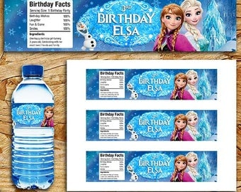 Frozen Water Bottle Label, Frozen Melted Snow, Frozen Bottle Label Birthday Party, Frozen Printable Label