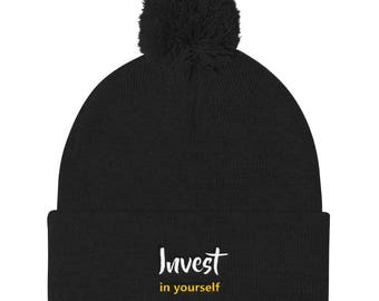 Invest In Yourself Pom Pom Knit Cap