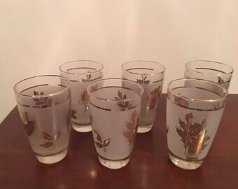 Set of 6 - Frosted Gold Leaf Tumblers - Vintage