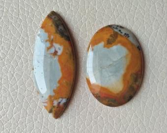 Jasper Stone Size 37x26x7, 48x20x7 MM Approx, American Jasper Stone, Marquise and Oval Shape, Handmade Polish Jasper Stone Weight 74 Carat.