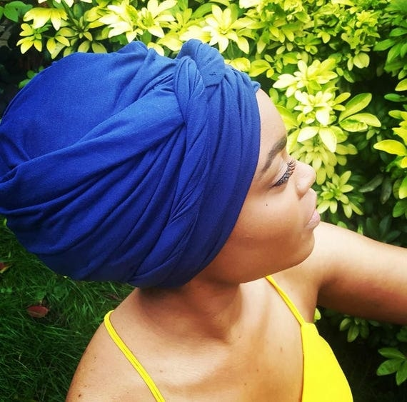 COTTON KNIT HEADWRAP Navy
