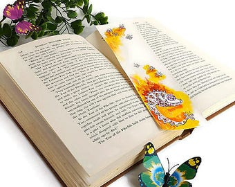 Book Lovers Paper Bookmark Bookish Watercolor Miniature Painting Art Gift for Readers Book lover gift Nerdy Chameleon Bookmark Literary gift