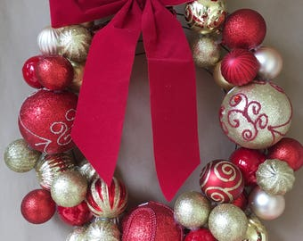 Red & Gold Ornament Wreath
