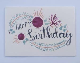 Happy Birthday (Purple) Greeting Card
