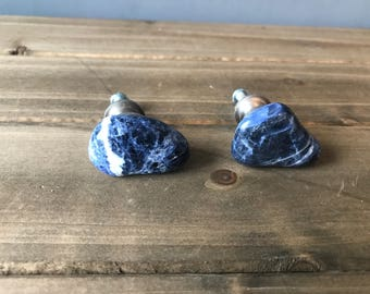 Sodalite drawer/cabinet knobs (pair), rock knob, drawer knob *FREE SHIPPING*