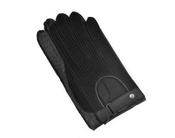 Black Leather&Crochet Driving Gloves for Man