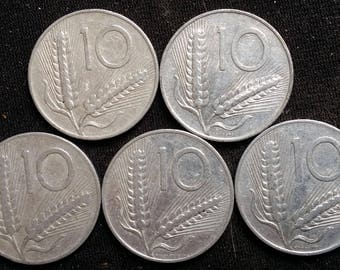 Lot 5 Coins 10 lire years 50
