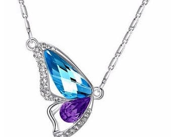 Crystal Butterfly Necklace - Blue/Purple