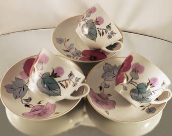 China Tea Cups Porcelain Cups Coffee Tea Cups Vintage Teacup Tea Drinkware, Floral Teacups, Retro Tea Cups Old Tea Sets 70's, China set of 3