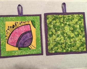 pink purple green potholder 10 inch x 10 inch