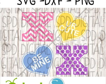 Valentine's Day Svg, xoxo Svg, Candy Heart Svg, DXF, PNG, SVG files for Silhouette and Cricut