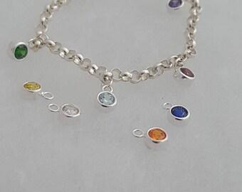 Personalised Silver Gemstone Bracelet